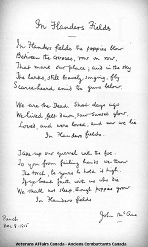 In Flanders Fields poem by John McCrea turns 100 this year