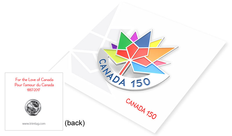 Canada 150 lapel pin package exclusive design by Trimtag