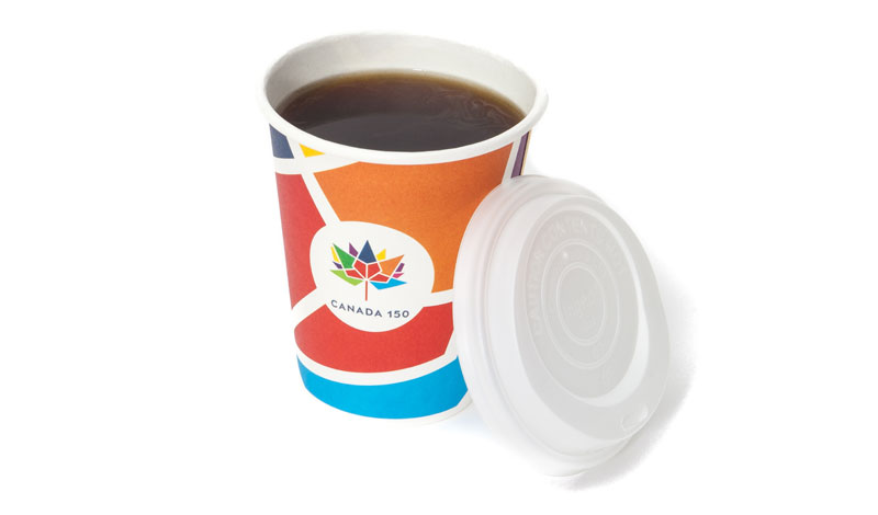 Trimtag Canada 150 100% biodegradable clear cup with lid