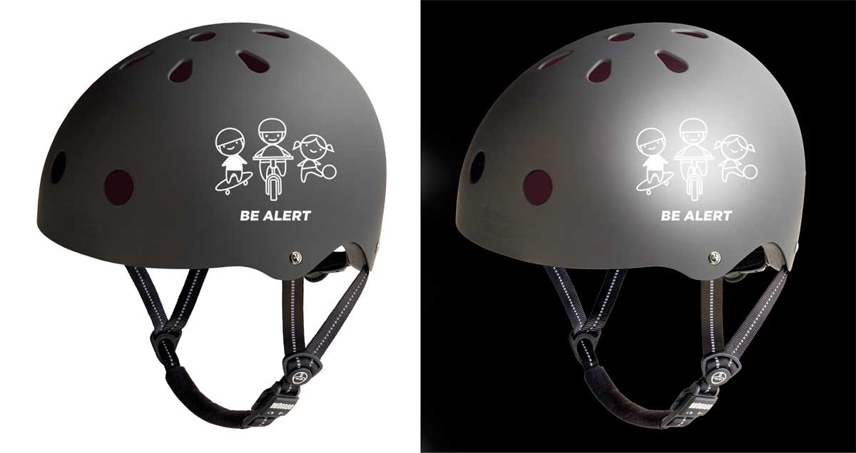 Trimtag Be Alert helmet stickers are reflective