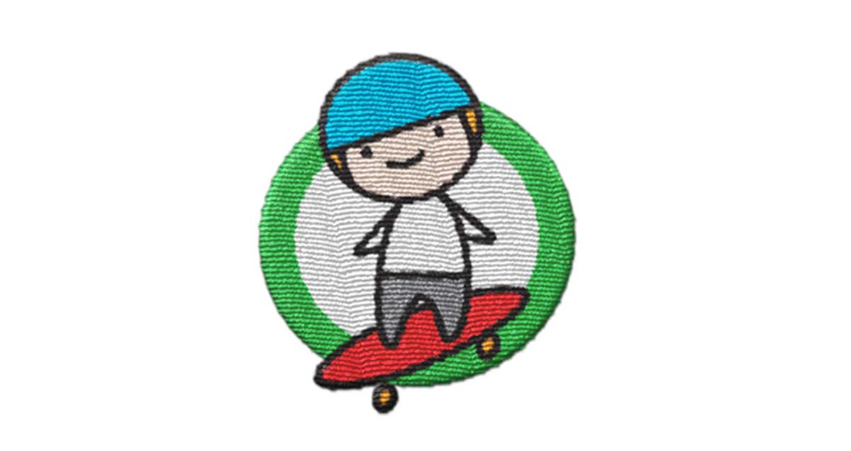 Trimtag Be Alert skateboard woven patch reflects light and enhances visibility
