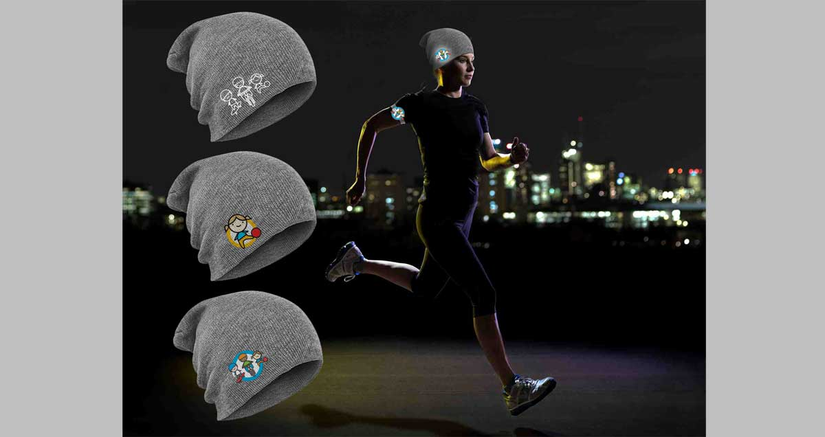 high visibility running hat with reflective patch