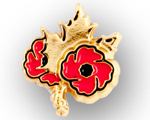 Veterans Affairs Canada twin poppy and maple leaf enameled lapel pin by ©Trimtag Trading Inc.