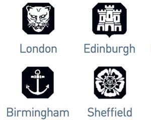 Assay marks for London, Birmingham, Sheffield and Edinburg