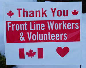 Front Line Workers lawn sign hearts and heroes in Canada