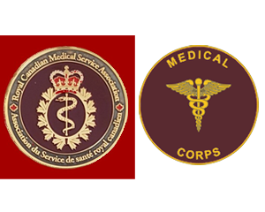 Different healing symbols Canadian Army Medical Corps coin vs U.S. Army Medical Corps.