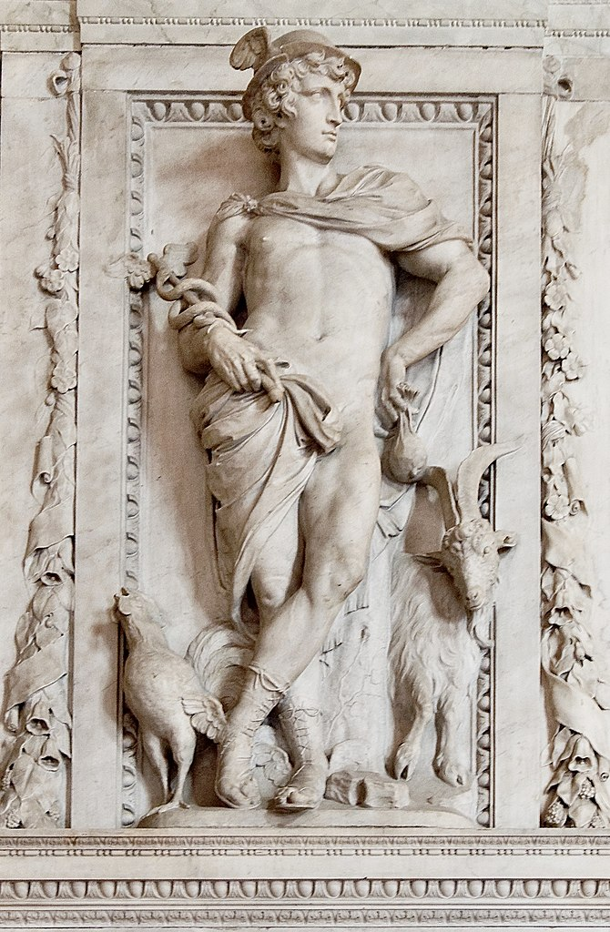 Caduseus is held in this relief sculpture from 1660s on the Royal Amsterdam Palace, photo C. Messier